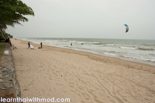 Empty Pranburi beach, perfect for a getaway.